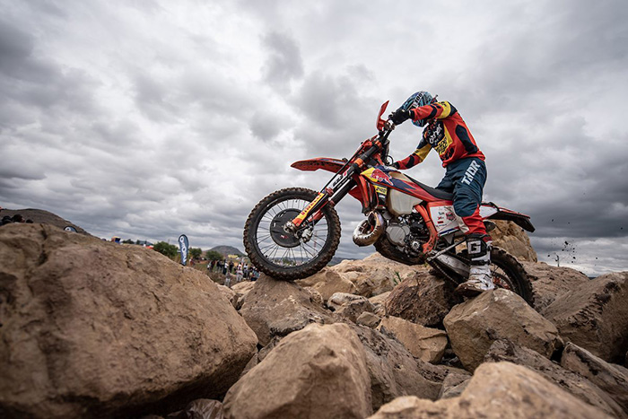 Scott Bouverie tackles the enduro cross course at the 2019 Motul Roof of Africa